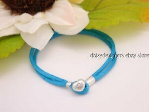 NEW Authentic Pandora TURQUOISE CORD Fabric Bracelet 590749CTQ S1 6.3 RETIRED