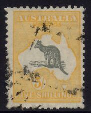 Australia - SM wmk 5/- yellow & grey kangaroo with variety - Used