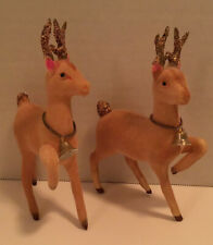 VINTAGE PINK FLOCKED REINDEER SET OF 2 DEER GLITTER & BELL JAPAN STICKER 6 1/2""