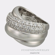 Authentic Ti Sento Milano Silver Wide Crossover  Ring Size 7.5  56 1642ZI/56