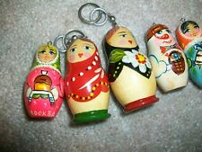VINTAGE RUSSIAN WOODEN HANDPAINTED ORNAMENTS HOLIDAY LOT OF 5