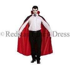 Adulto Vampiro Dracula Mantella REVERSIBILE NERO ROSSO COSTUME HALLOWEEN