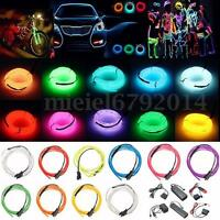 1/2/3/4/5/10/20M LED Flash Flexible Néon Light Glow EL Strip Tube Wire Bande Fil