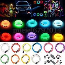 1/2/3/4/5/10/20M LED Flash Flexible Néon Light Glow EL Strip Tube Wire Bande Fil
