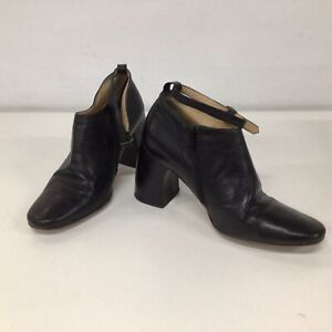 Vtg Ann Demeulemeester Black Leather Booties With Ankle Strap Size EU 38.5 #605