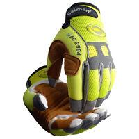 Caiman 2984 Genuine Goat Skin Hi-Viz Rappelling Gloves Reflective Trim -Large