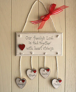 Personalised Family Plaque Wooden Hearts White hanging Hearts Beautiful Gift