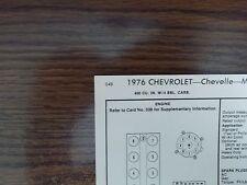1976 Chevrolet Chevelle Monte Carlo 400 V8 4BBL SUN Tune Up Chart Great Shape!