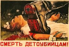 1942 Propaganda Soviet War Poster Child Killers A3 Art Poster Print