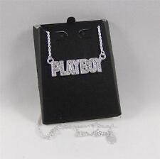 "PLAYBOY BUNNY Theme SILVER Plated SWAROVSKI Crystal Pendant 19"" NECKLACE for MEN"