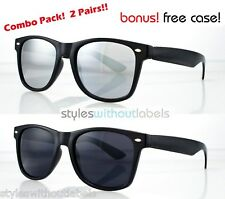 2 PAIRS BLACK FRAME DARK AND MIRROR LENS RETRO CLASSIC FRAME HIPSTER SUNGLASSES