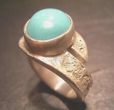 Maturo-Design-Turchese Anello-pezzo unico di propria oreficeria - 999 argento finemente