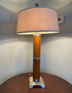 Uttermost MCM Style Glass Metal Acrylic Table Lamp Original Shade