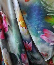 100% Heavy Charmuse Oriental Silk  Pink White Lily Flower 45 Inch Sell By Meter