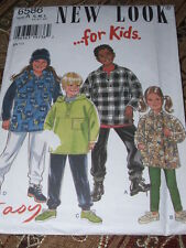 NEW LOOK #6586-BOYS or GIRLS (GREAT FOR FLEECE) PULLOVER HOODIES PATTERN SM-L FF