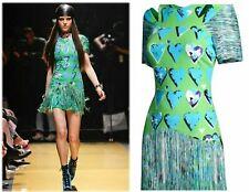 VERSACE x H&M Green Silk Heart Fringe Mini Dress 6 NEW WITH TAGS