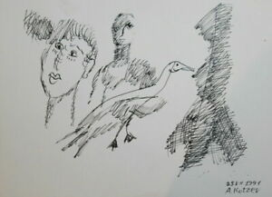 1991 - INK DRAWING ABSTRACT SURREALISM FIGURES SIGN.