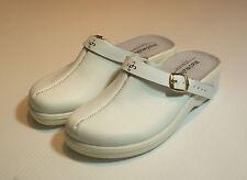White Leather Clog Shoes Closed Toe Hospital Vet BNIB UK Size 5 #107