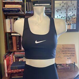 Nike DRIFIT Women's Medium Black Sports Bra EUC White Swoosh