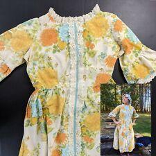 Vintage Bicentennial 1776 Colonial Costume Women's Floral Lace Front Dress Xl
