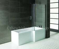 RH Oceania 12 Jet L Shape Whirlpool Shower Bath Complete With Screen and Panel