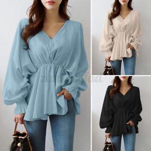 ZANZEA 8-24 Women Flare Peplum Puff Sleeve Top Shirt Tee Pullover V Neck Blouse