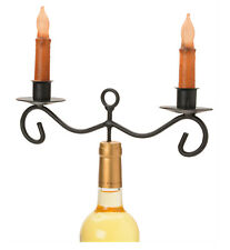 WINE BOTTLE TOPPER CANDLESTICK HOLDER Wrought Iron 2 Dinner Candle Stand USA