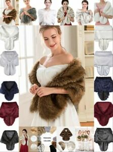 UK Women Winter Wedding Shawl Stole Cape Faux Fur Bridal Wrap Shrug Scarves H1
