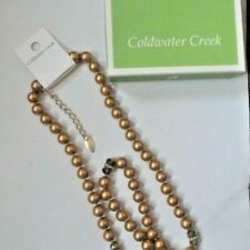 $70 COLDWATER CREEK COPPER PEARL AND AB CRYSTAL NECKLACE NEW NWT