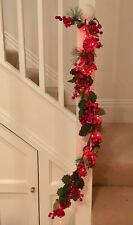 Cone red Berry & foliage garland, 20 LED Battery lights RED