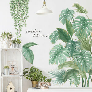 Monstera Deliciosa Wall Sticker Tropical Plant Decal DIY Mural Home Background