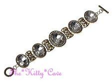 Deco Nouveau Regency Victorian Vintage Lk Gold Oval Lead Crystal Toggle Bracelet