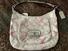 Coach Kristin Signature Sequins Hobo Shoulder Bag Handbag 19340 Pink Canvas Tote