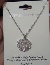 """Silver Tone Filligree Sea Shell Pendant Chain Necklace 16"""" Long"""