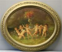 Antique French school oil canvas painting 19thc oval putti cherubs