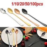 1/10/20/50/100PCs Stainless Steel Long Handle Stirring Coffee Tea Spoons Tool
