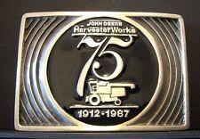 John Deere Harvester Works Combine 1987 Pewter Belt Buckle 75th Anniv Limited Ed