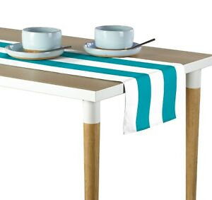 """Turquoise & White Cabana Stripe Table Runners - 12""""x72"""" or 14""""x108"""""""