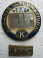 1950's KIWANIS INTERNATIONAL We Build Button + 1904 Coca-Cola Money Clip Tiffany