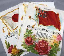 3 Nebo Cigarettes Tobacco Silks Flag Hymn Antique Original England Japan Austria