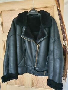 Vintage County Coats Genuine Shearling Sheepskin Aviator Flying Jacket Size 10