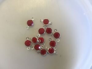 Vintage Swar Crystal Opaque Red Faceted Silver Connectors Links Findings Lot
