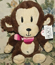 Children's Place Brown Fluffy Girl Monkey Stuffed Toy Pink Knit Scarf New Tags