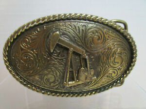 Vintage The Great American Buckle Company Solid Brass Belt Buckle End of the Trail 1982 Serial Number 352