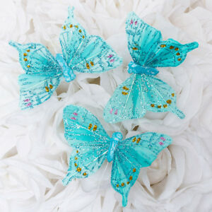 """3"""" Artificial Decorative TURQUOISE Feather Butterflies - 12pcs Butterfly Craft"""
