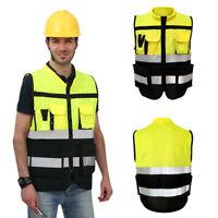 Hi-Vis Safety-Vest With Zipper-Reflective Jacket-Security Waistcoat W/ Pocket