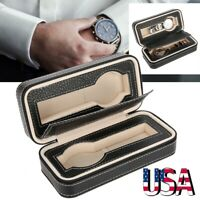 Watch Travel Case Wrist Watch Pouch 2 Slots PU Leather Storage Organizer Box