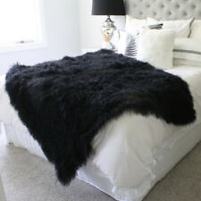 BLACK MONGOLIAN curly FUR SHEEPSKIN BLANKET THROW TIBETAN LAMBSKIN 120x180cm