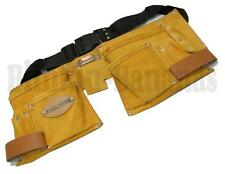 SUEDE TOOL BELT 11 POCKET BUILDERS NAIL TAPE HOLDER POUCH DOUBLE HAMMER LOOP 10C