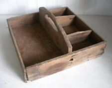 Antique Primitive Wood Carved Handle Tote Tool Box w/ Dividers Michigan Melons
